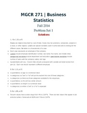 MGCR 271 Fall2014 Problem Set 1 Solutions