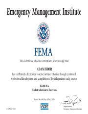 FEMA IS 00279 pdf - Emergency Management Institute This Certificate