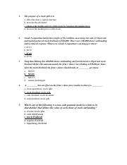 Assignment 2 dividends mcq's answers