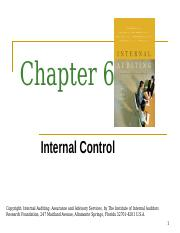 Chapter 6 - Internal Control