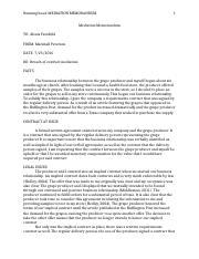 BUSI 561 Mediation Memorandum - MEDIATION MEMORANDUM 1 MEMORANDUM ...