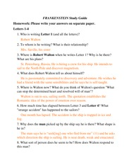 FRANKENSTEIN Study Guide with answers