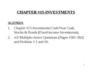 YU,Chapter#15, Investments, October 30, 2008