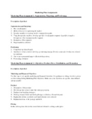 MKTG 302 Mktg Plan Assignments 1 and 2, Spring 2013 revised