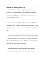 Dialectical Journal - Candide, Chapters 1-10