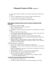Chapter 2 and 3 lecture notes (chemical context and water)