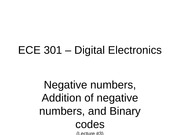 Lecture #3 - Negative Numbers, Addition of negative numbers, Binary codes