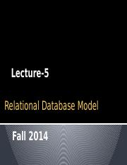 [Lecture-5] Relational Database