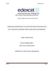 MCKI ASSGNMNT doc - MCKI INDIVIDUAL BTEC EDEXCEL HND DIPLOMA IN