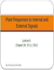 Lecture 8- Plant Responses to Internal and External Signals
