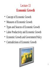 Lecture 13. Economic Growth