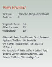 PE_1 ppt - 1 Power Electronics Pre-requisite Credit Hours Electronic