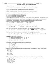 Periodic Trends Practice Worksheet - Name Date Period Periodic ...