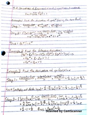 MATH 206 derivatives Logs And Exponential Functions