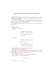 Homework Problem Solutions on Mathematical Modeling
