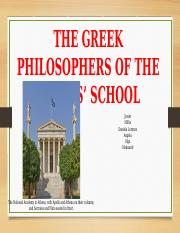 THE GREEK PHILOSOPHERS OF THE ATENAS' SCHOOL. Western Civilation..pptx