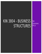 KIN 3804 - Business Structures