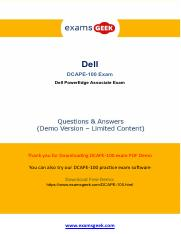 Dell DCAPE-100 Exam Practice Software 2018 pdf - ExamsBoost Boost up