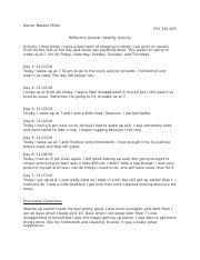 Reflective journal healthy activity