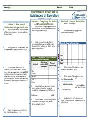 LAB - Evidence of Evolution.docx - Name(s Period Date ...