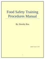 Food Safety Training Procedures Manual