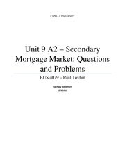 Unit 9 A2 - Secondary Mortgage Market - Questions and Problems