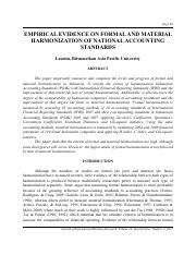 Harmonization of accounting standards 2