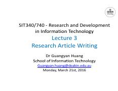 Lecture 3 Research Article Writing