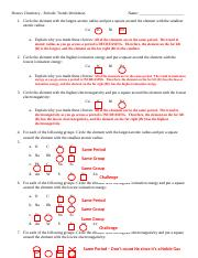 Periodic Trends Worksheet Answers (1) - Honors Chemistry Periodic ...