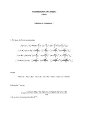 MATH3242 Assignment 1 Solutions