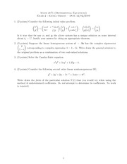 Exam 2 Fall 2009 Extra Credit on Ordinary Differential Equations