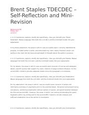 Brent Staples TDECDEC – Self-Reflection and Mini-Revision.docx