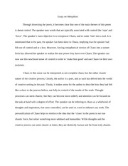 Essay on Metaphors