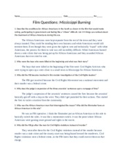 Mississippi Burning Video Questions