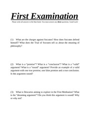 PHI 1500 First Examination