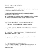 Business Law- Study guide- Consideration