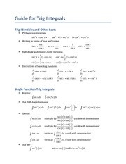 Guide for Trig Integrals
