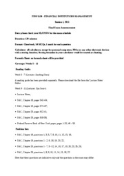 FINS 5530 Final Exam Announcement