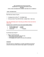 FINAL EXAM (Information Format and E xamples)(1)