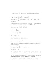 SOLUTIONS TO PRACTICE PROBLEMS FOR EXAM I