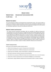 Interpersonal Communication Module Outline