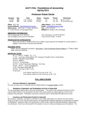 ACCT 410x Foundations of Accounting Syllabus
