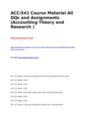 ACC 541 Course Material All DQs and Assignments (Accounting Theory and Research ).doc