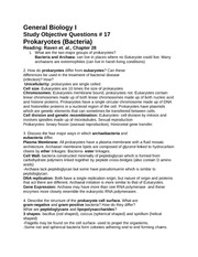 Study Objective Questions w/ Answers #17 Prokaryotes (Bacteria)