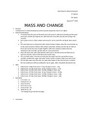 lab report mass change.docx