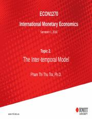 Topic 2 The Intertemporal Model
