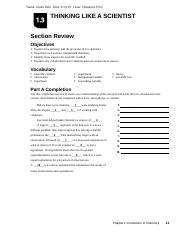Thinking Like A Scientist 1 3 Packet Name Giulia Patti Date Class Chemistry H 02 Thinking Like A Scientist Section Review Objectives Explain How Course Hero