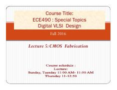 Lecture 5 CMOS  Fabrication