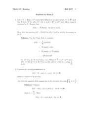 Exam 2 Solution Fall 2007 on Vector Calculus