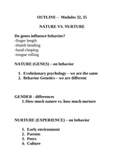 Psych 100 Nature vs Nurture - Mod 32 35